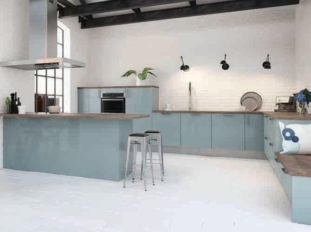 Une cuisine design bleue