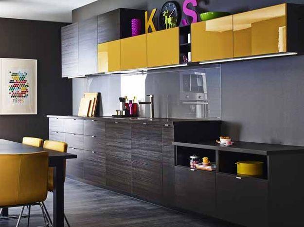Une cuisine design jaune