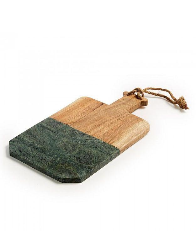 Planche à découper en marbre vert et bois