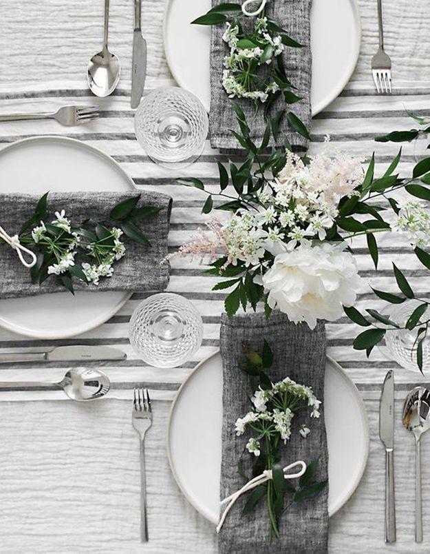 Décoration de table hiver : privilégiez du linge de table en lin