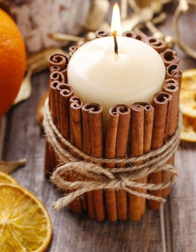 Décoration de table hiver : transformez une simple bougie en bougie parfumée
