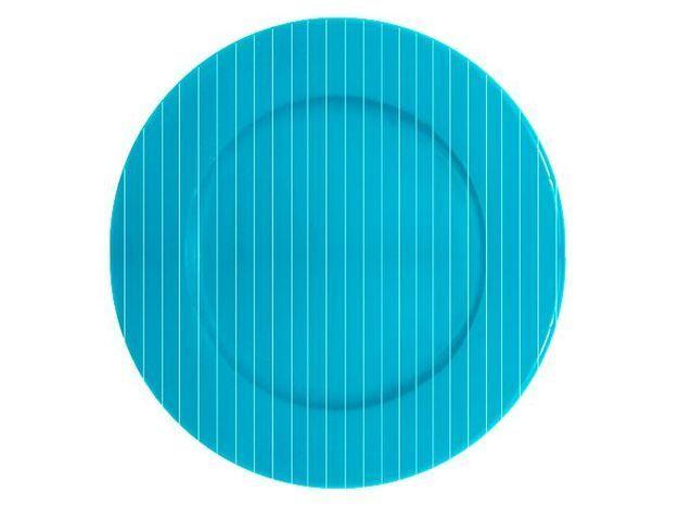 assiette rayée bleue
