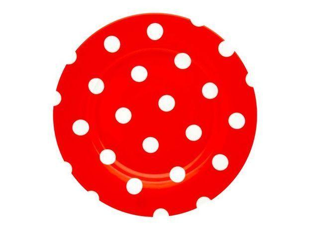 assiette rouge à pois blancs