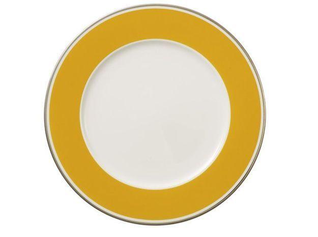 assiette bordure jaune moutarde
