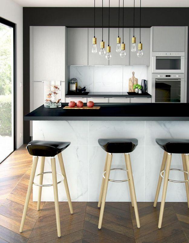 Une cuisine design pour un int rieur contemporain elle - Cuisine design blanche et noire ...