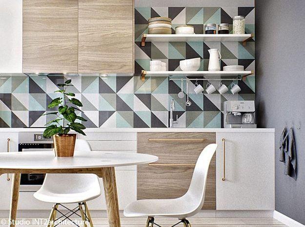 Modele De Cuisine En Bois Peint : Le papier peint dans une cuisine, ?a change tout ! – Elle D?coration