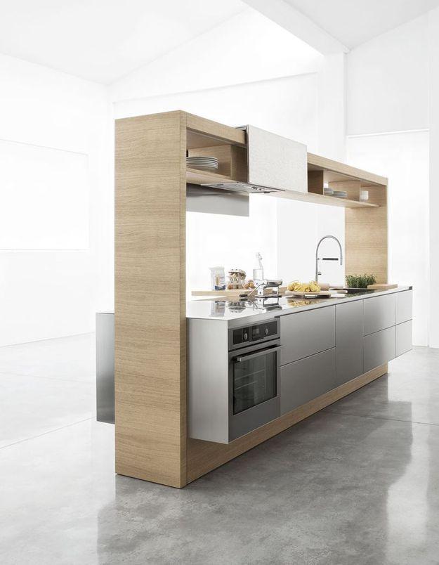 Une cuisine en bois ouverte