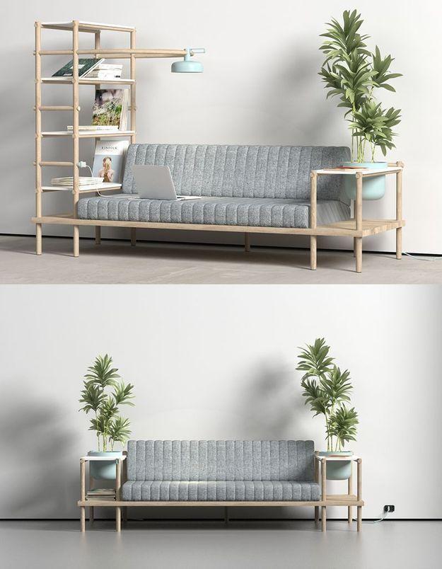 Canapé / étagères / luminaire