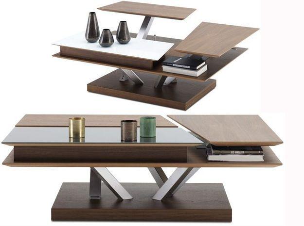 Une table basse multifonction dont les plateaux se relèvent