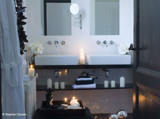 Salle de bain bougies