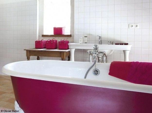 Baignoire sur pieds rose