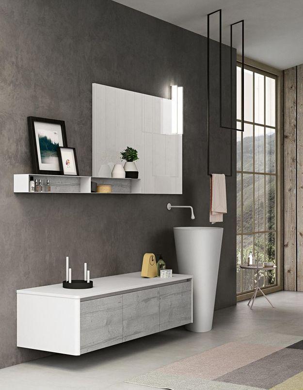 Une salle de bains design aux meubles de salon