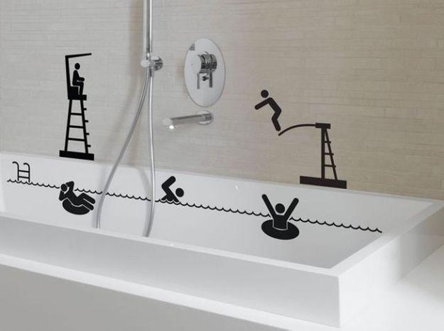 Idée déco de salle bains: des stickers