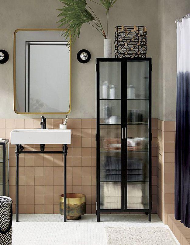 Miroir de salle de bains effet laiton