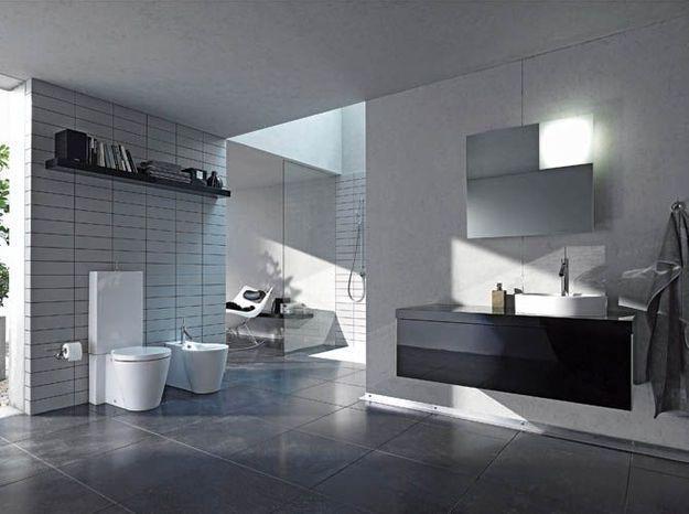 Salle de bain noir et blanc duravit