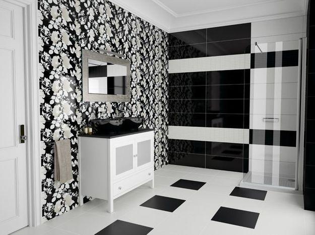 Salle de bain noir et blanc tile of spain