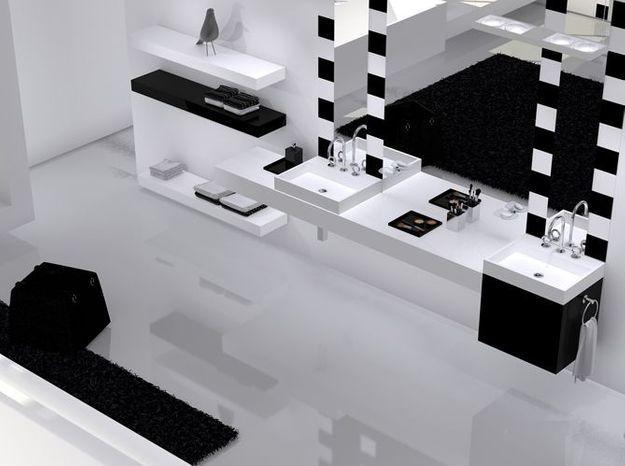 Salle de bain noir et blanc thg