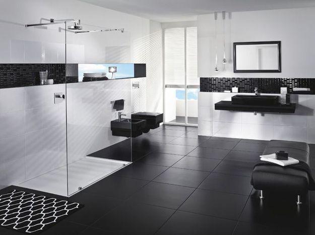 Salle de bain noir et blanc villeroy et boch