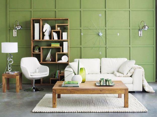 Vert pistache et blanc pour un salon nature