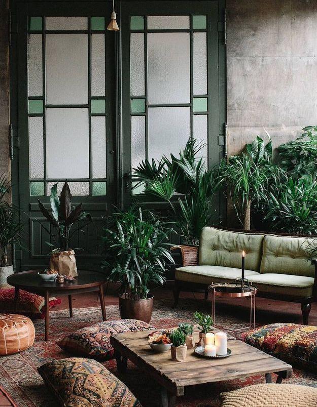 Des plantes XXL derrière le canapé pour un effet jungle urbaine