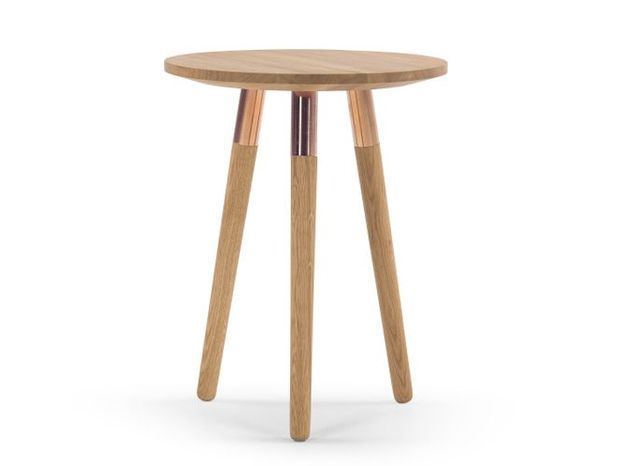 Table Appoint Bois Cuivre