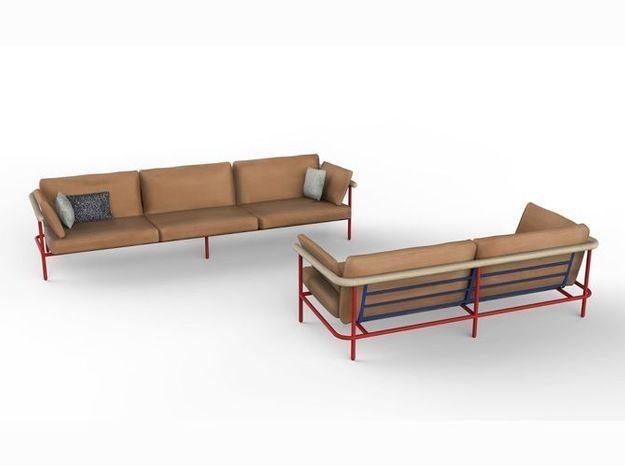 Un canapé en cuir design avec une structure tubulaire