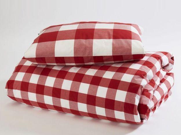 Parure de lit carreaux rouges hastens
