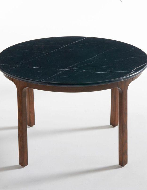 Table basse en bois et marbre noir
