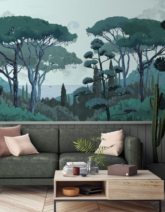 Investissez dans un papier peint panoramique végétal pour un salon cocooning
