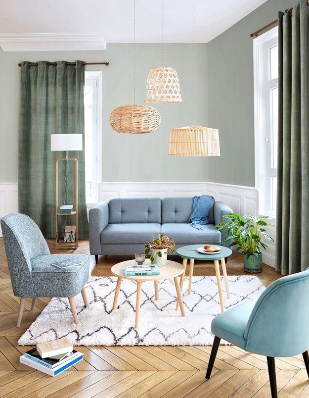 Un salon coloré bleu et vert