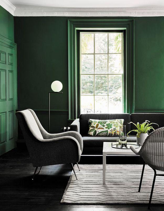 Un salon coloré vert et noir
