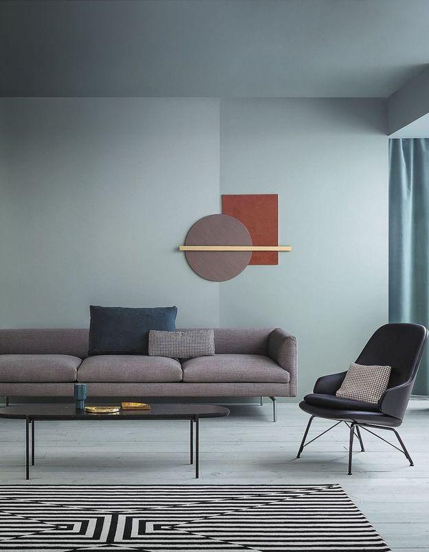 Un salon gris et bleu