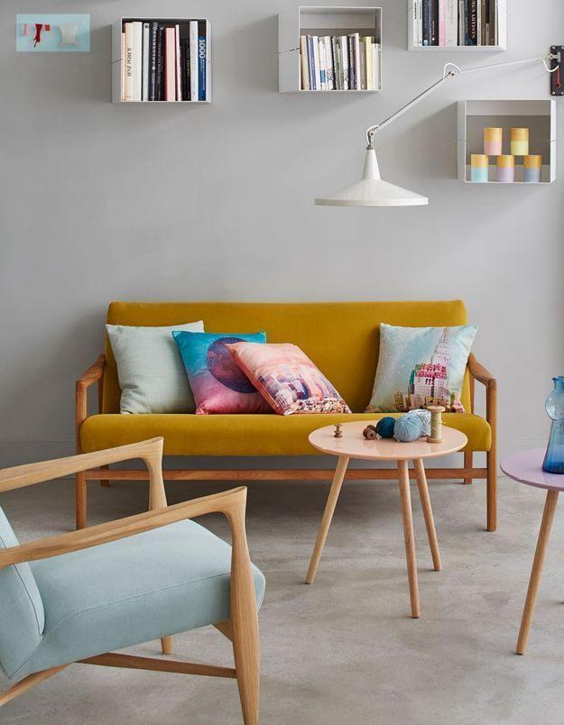 Salon jaune et pastel