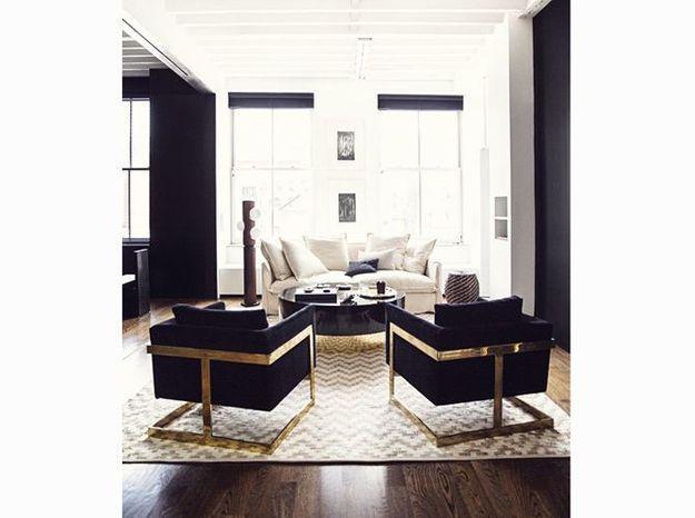 Un salon Art Déco noir et blanc