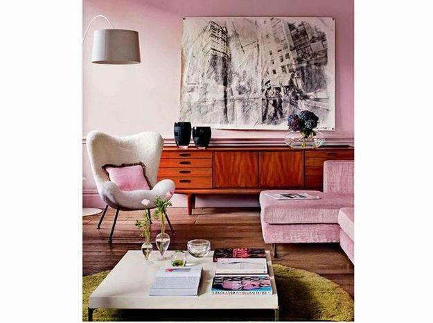 Un salon vintage rose