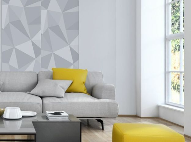 Salon gris et jaune mur placo