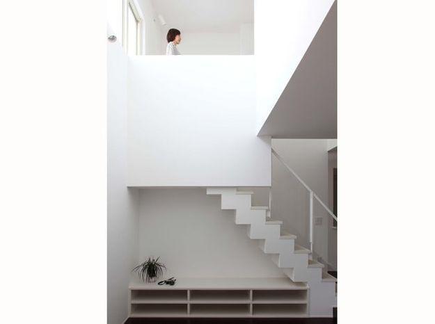 Des étagères basses sous l'escalier