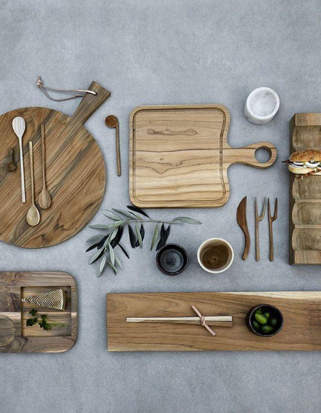 Ustensiles de cuisine en bois pour une déco cocooning