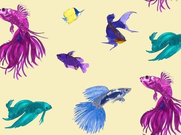 Tissu fond creme poissons
