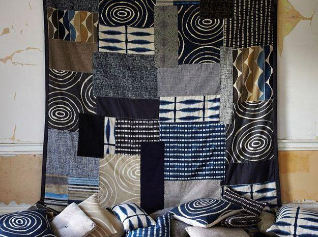 Tissu motif ethnique bleu