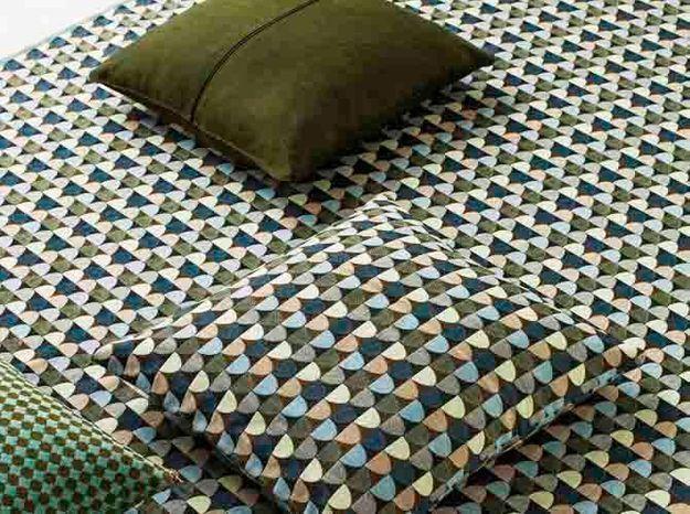 Tissu motifs vert et bleu