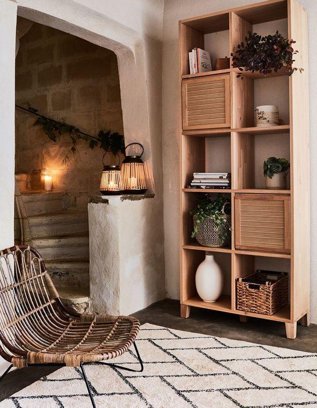 Du bois et du rotin pour une décoration cosy