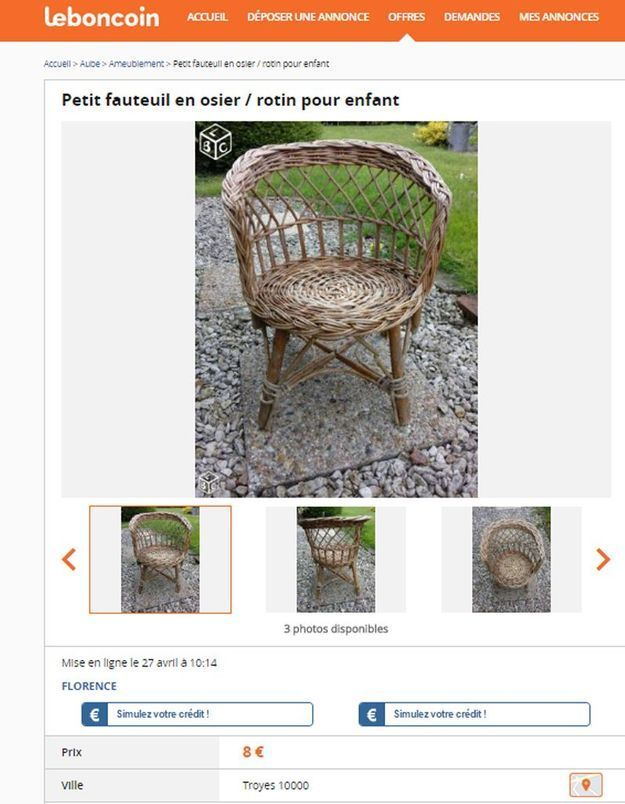 Un fauteuil en rotin pour enfant en Champagne-Ardenne
