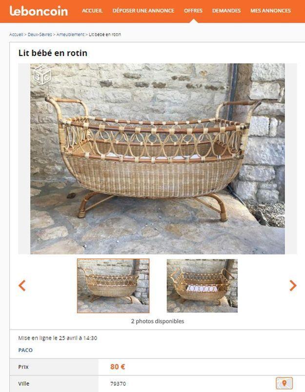 Un lit bébé en rotin en Poitou-Charentes