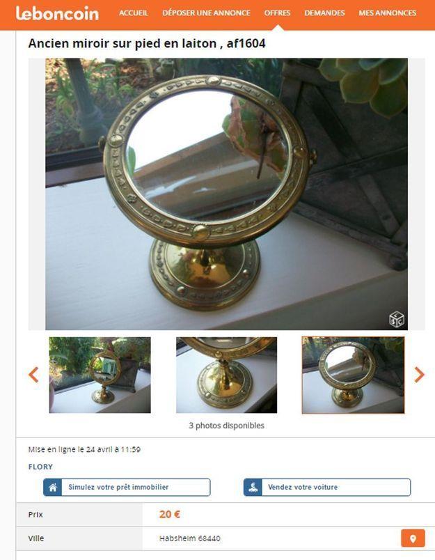 Un miroir sur pied en laiton en Alsace