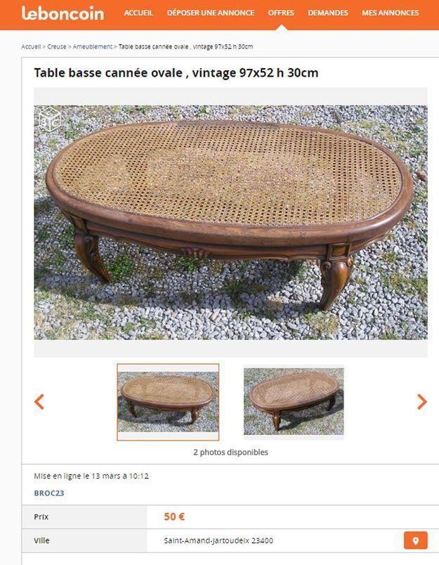 Une table basse cannée dans le Limousin