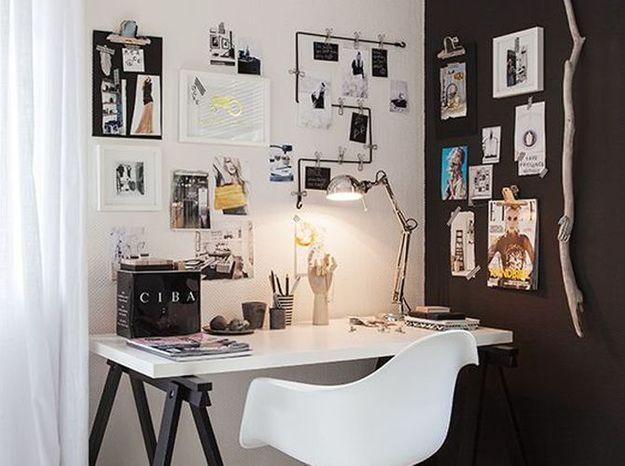 Installez des pinces et des fils au-dessus de votre bureau