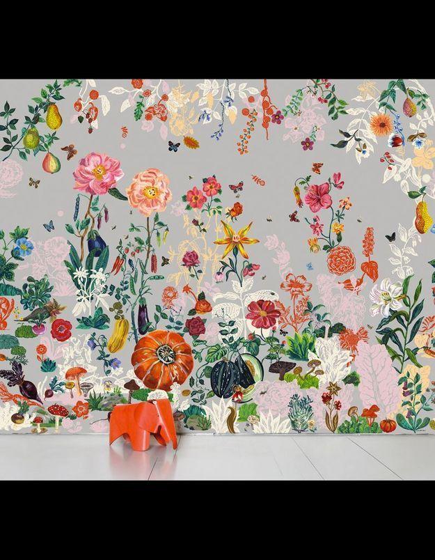 Papier peint « Jardin Gris », Nathalie Lété