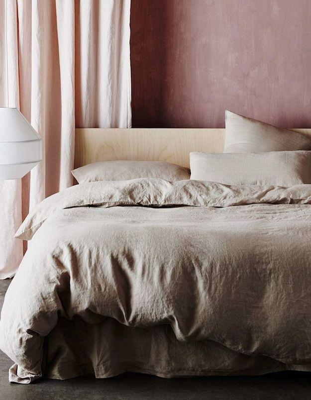 Des rideaux en lin roses