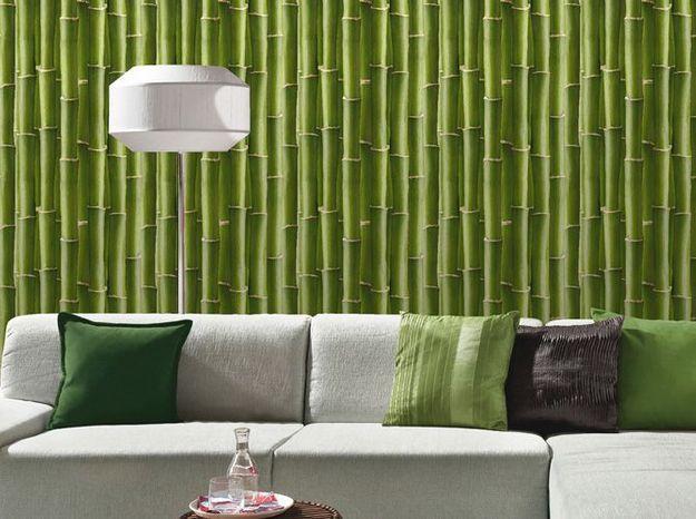 Papier peint effet bambou